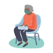 Elderly woman wearing face mask