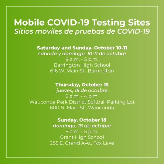 Mobile COVID-19 Testing Sites - October 2020