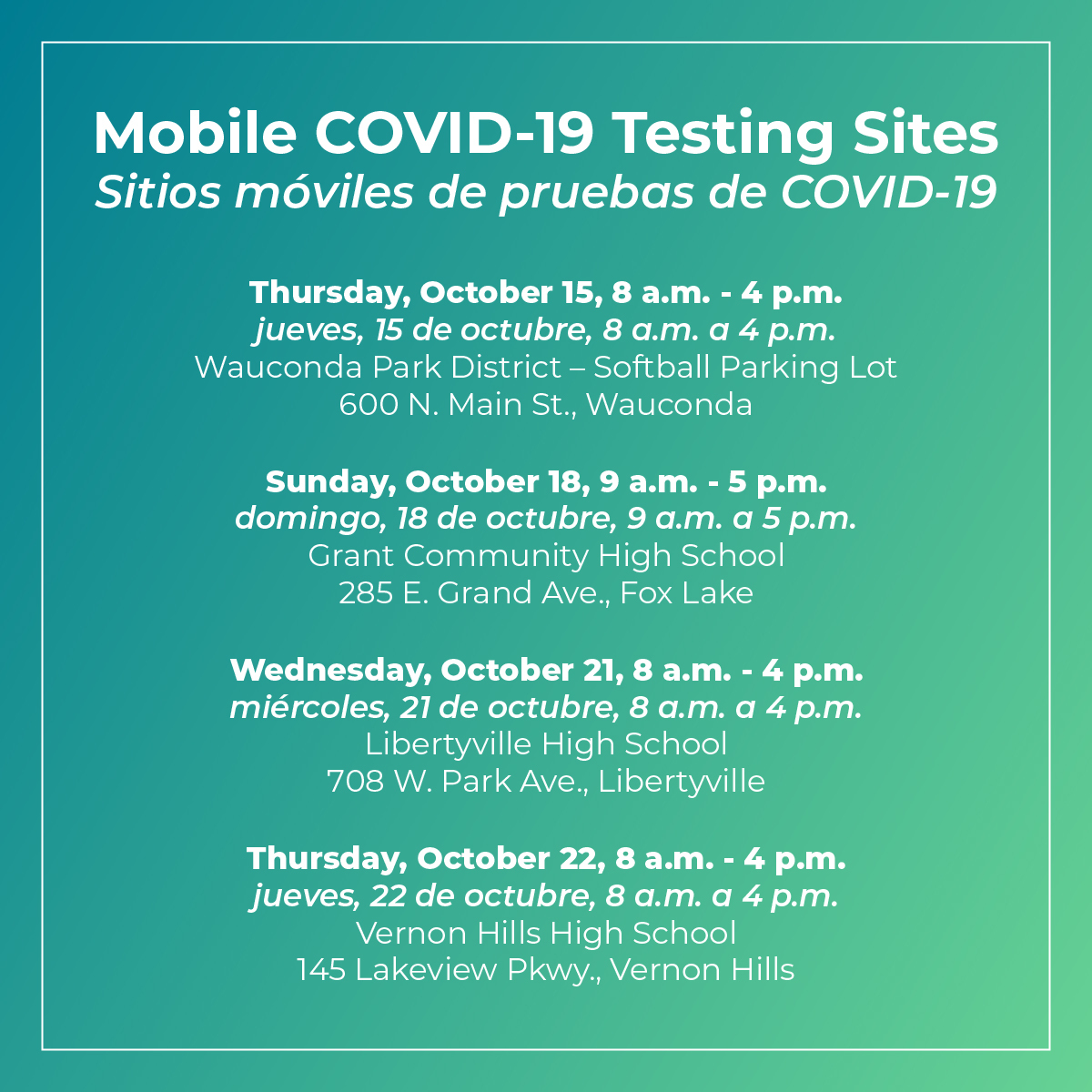 October 2020 Mobile COVID Testing Sites