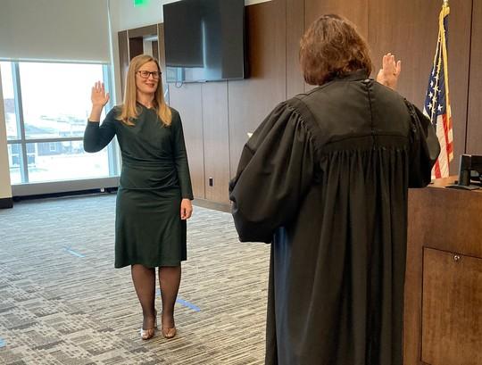 Coroner Banek being sworn-in