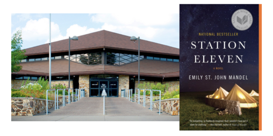 Vigo County Public Library exterior and Station Eleven Book Cover