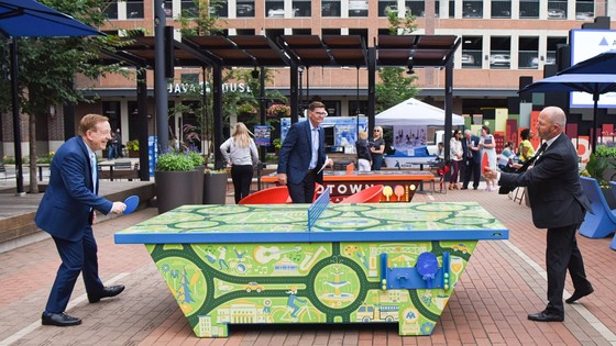 Mayor and Pete Hilger playing ping pong