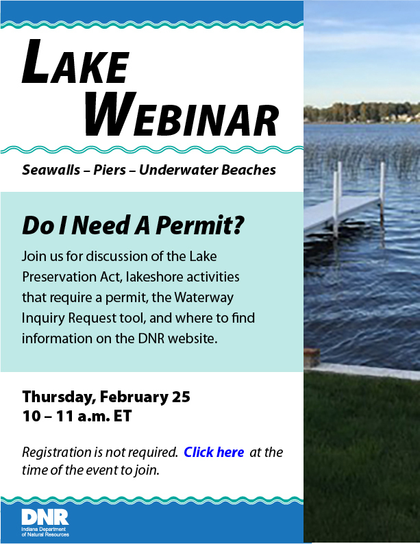 Lake Webinar, Seawalls, Piers, Underwater beaches, Do i need a permit? Feb 25