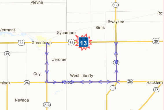 INDOT East Central US SR Closes Thursday Oct For - Us 35 map