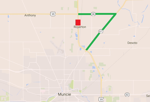 INDOT East Central Drainage Culvert Construction To Close US - Us 35 map