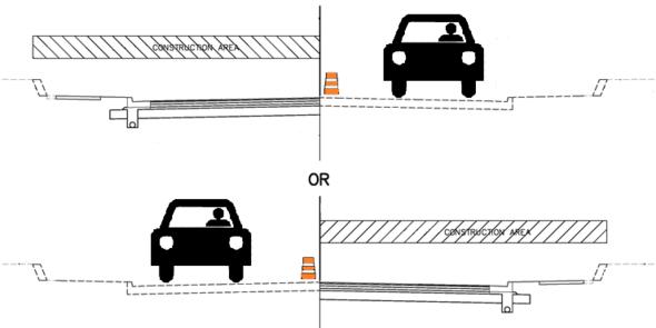 Single lane, 2-phase traffic during construction