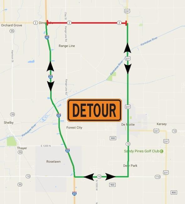 State Road 2 Detour Map