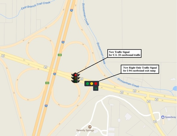 INDOT Activates New Traffic Signal System at I-94 and U S  20