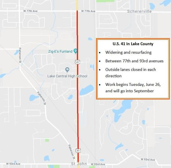 Project to close lanes on U.S. 41 in Lake County on mndot road map, scdot road map, ndot road map, weather road map, odot road map, tdot road map, wvdot road map, indiana road closures map, construction road map, city road map, southern indiana road map, indiana toll road map, idot road map, ncdot road map, fishers indiana road map, detailed indiana road map, state road map, indiana kentucky road map, modot road map, local road map,