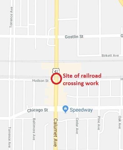 Railroad crossing work to close Calumet Avenue in Hammond