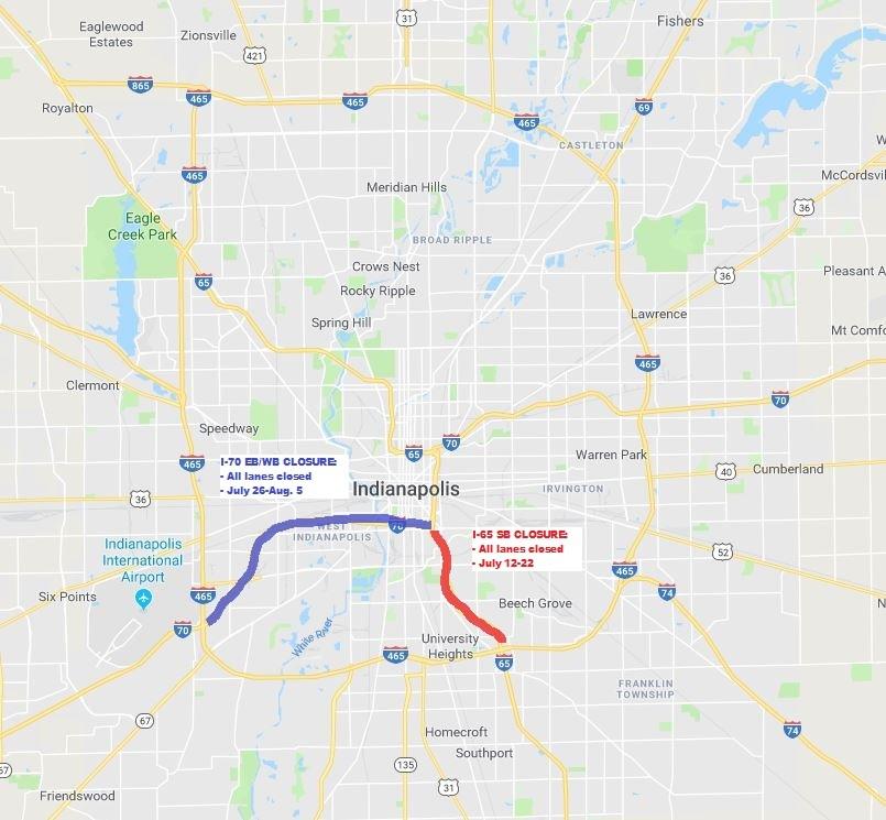 I-70 I-65 closures