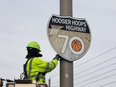 Hoosier Hoops Highway sign