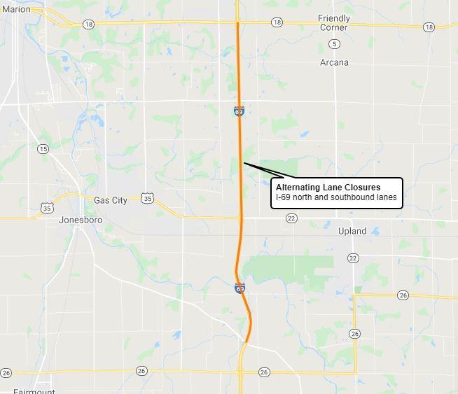 Grant Co. I-69 lane closures