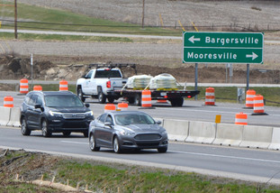 SR 37 concrete barriers in Johnson County