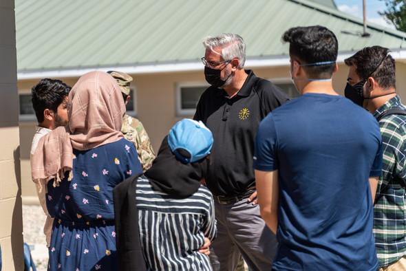 Indiana Governor visits Afghanistan evacuees at Camp Atterbury