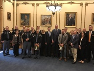 Gov. Holcomb with ISP and BFTH & HeartSaver Volunteers