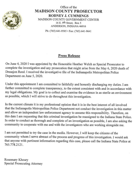 Madison County press release 2