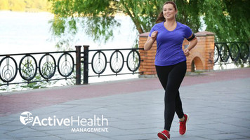 Woman jogging with ActiveHealth logo