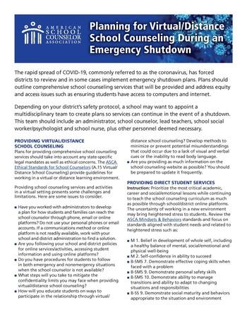 ASCA Emergency School Counseling