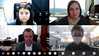 A screen shot of Dr. Jason E. Glass attending a Commissioner's Student Advisory Council virtual meeting.