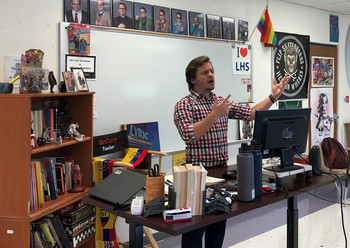 Christopher McCurry, Kentucky's 2021 High School Teacher of the Year, teaching in his classroom.