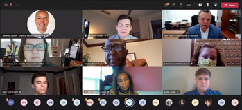 A screen shot of Thomas Woods-Tucker, center, meeting with the Commissioner's Student Advisory Council.