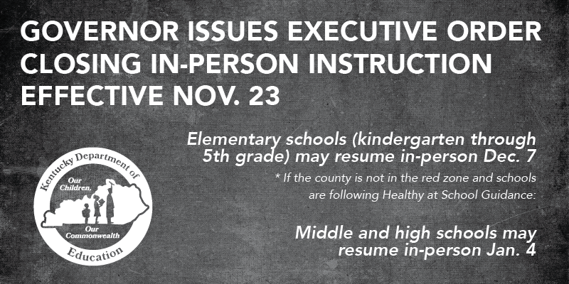 Governor Closing In-Person Instruction Nov. 23. Elementary may resume in-person Dec. 7. Middle and high schools may resume in-person Jan. 4.