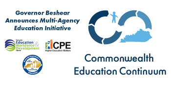 Graphic reading Governor Beshear announces multi-agency education initiative: Commonwealth Education Continuum
