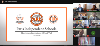 A screenshot showing people attending a virtual meeting. A card reads Paris Independent Schools Greyhound Academy Virtual Visit