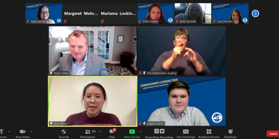 Screenshot of people talking over Zoom on a virtual town hall.