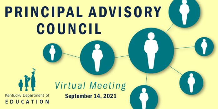 Graphic reading: Principals Advisory Council virtual meeting, September 14, 2021