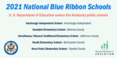 Graphic reading 2021 National Blue Ribbon Schools: U.S. Department of Education names five Kentucky public schools