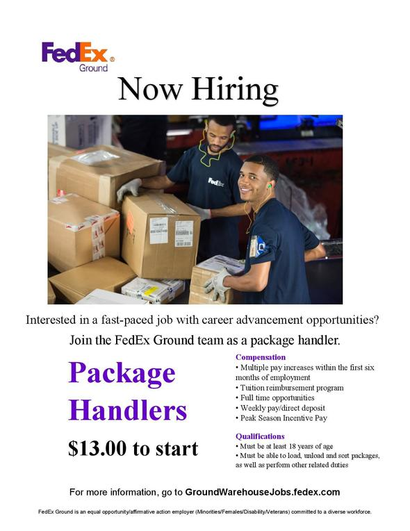 Federal Express now hiring