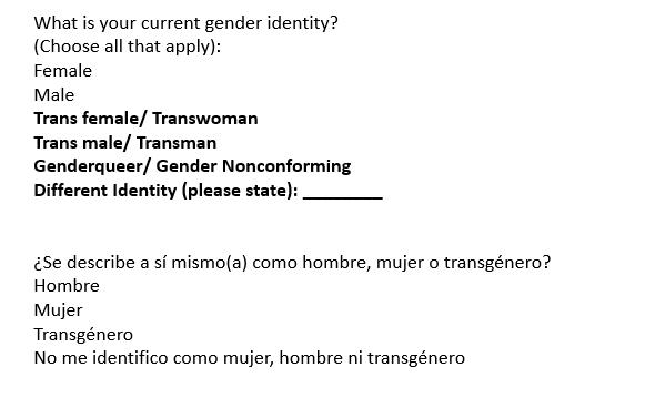 Data Standardization Gender Identity Form 2