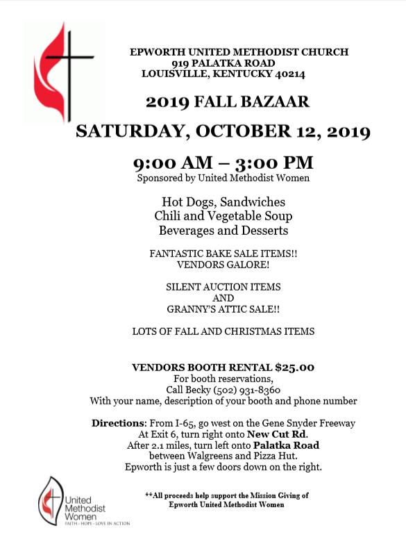 United Methodist Church Fall Bazaar 2019