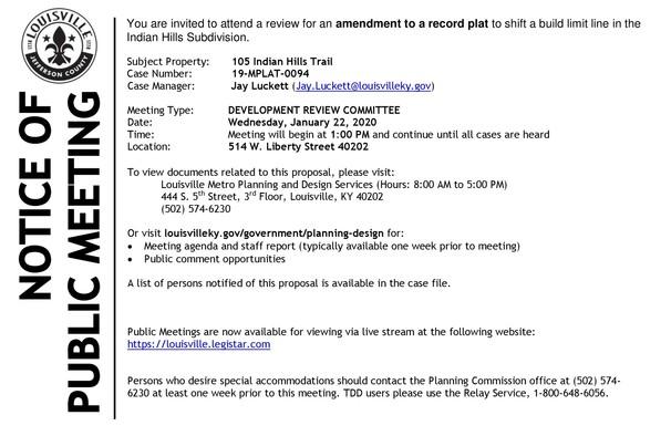 Public Notice - Indian Hills