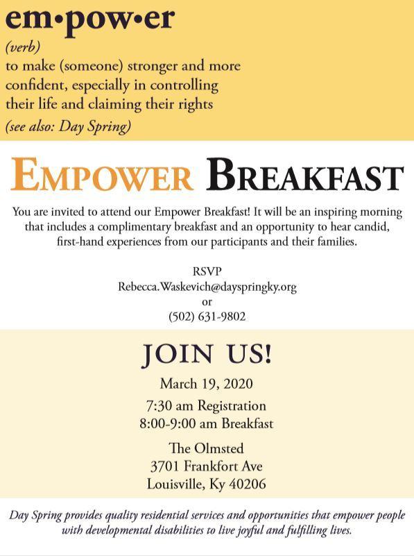Day Spring fundraiser flyer