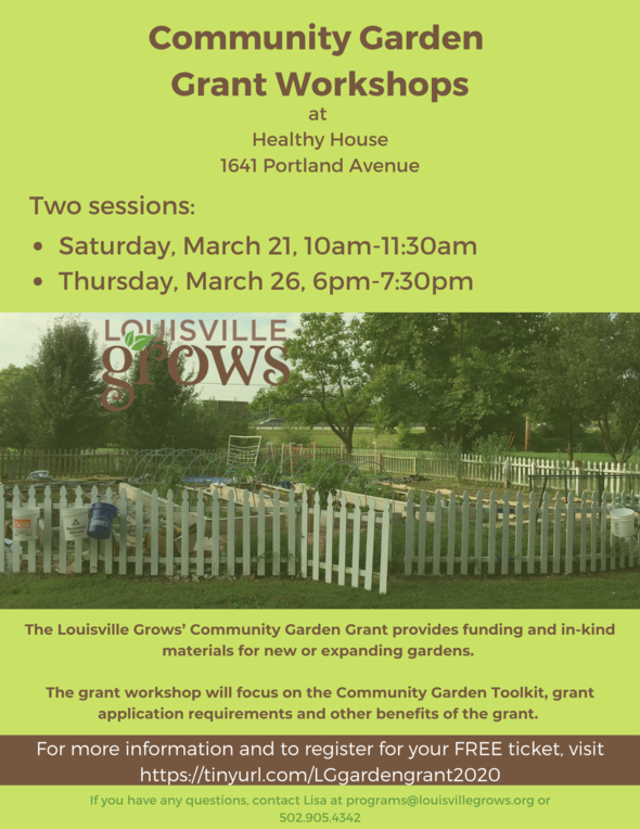 Community Garden Grant Workshops flyer
