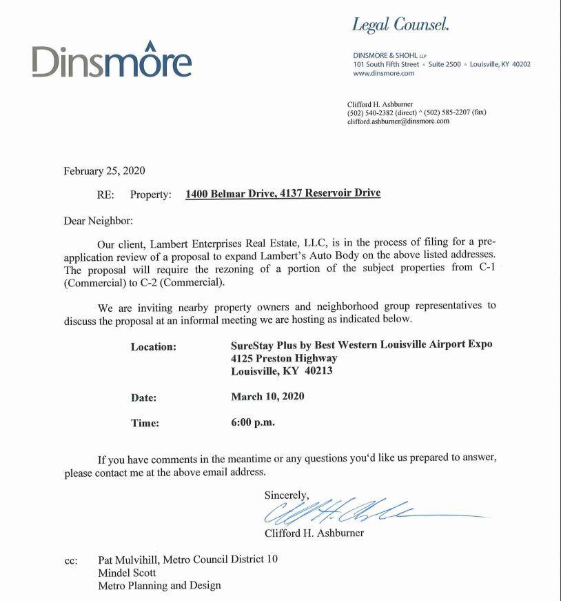 Neighbor meeting notice for 1400 Belmar