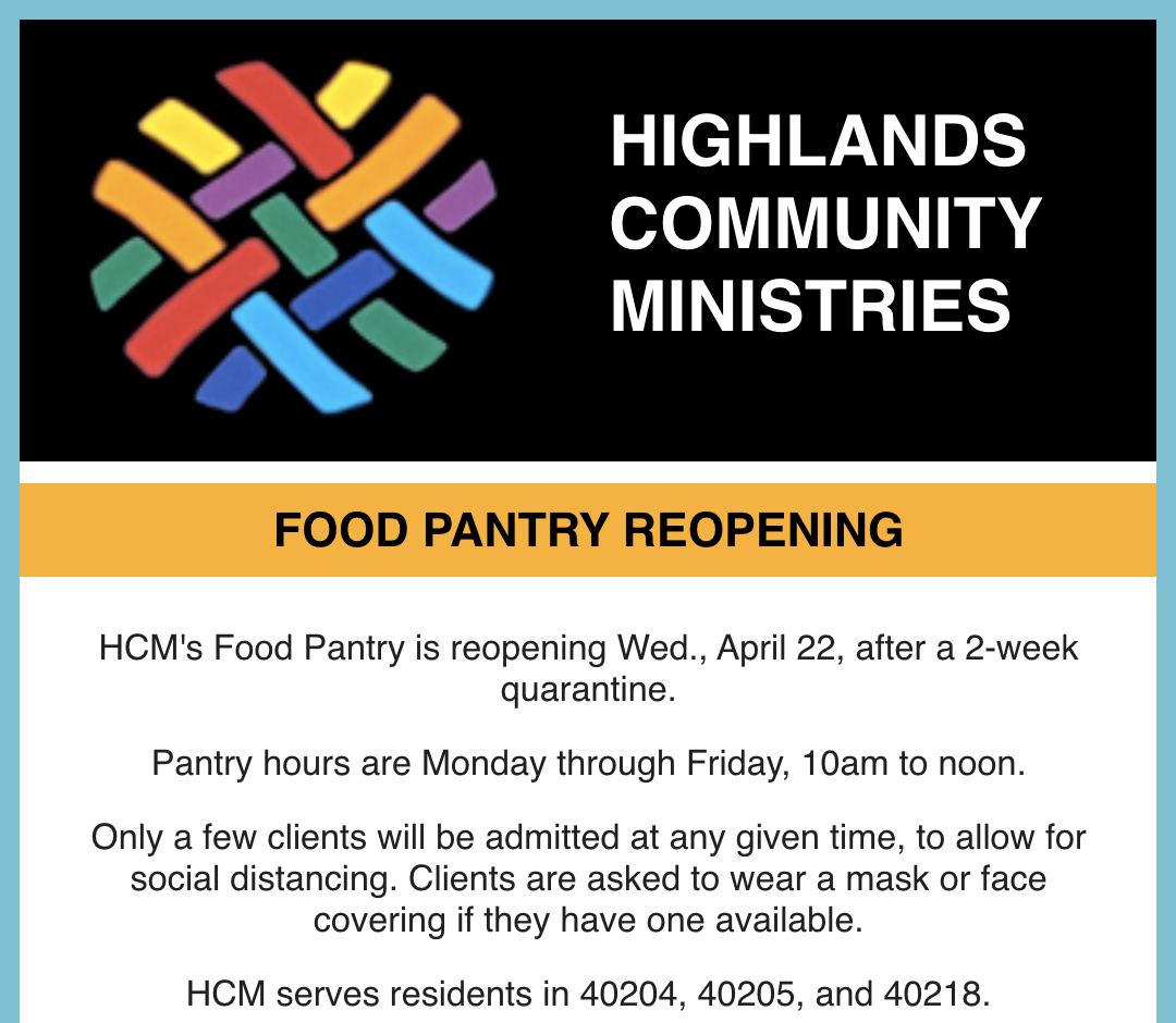food pantry reopening