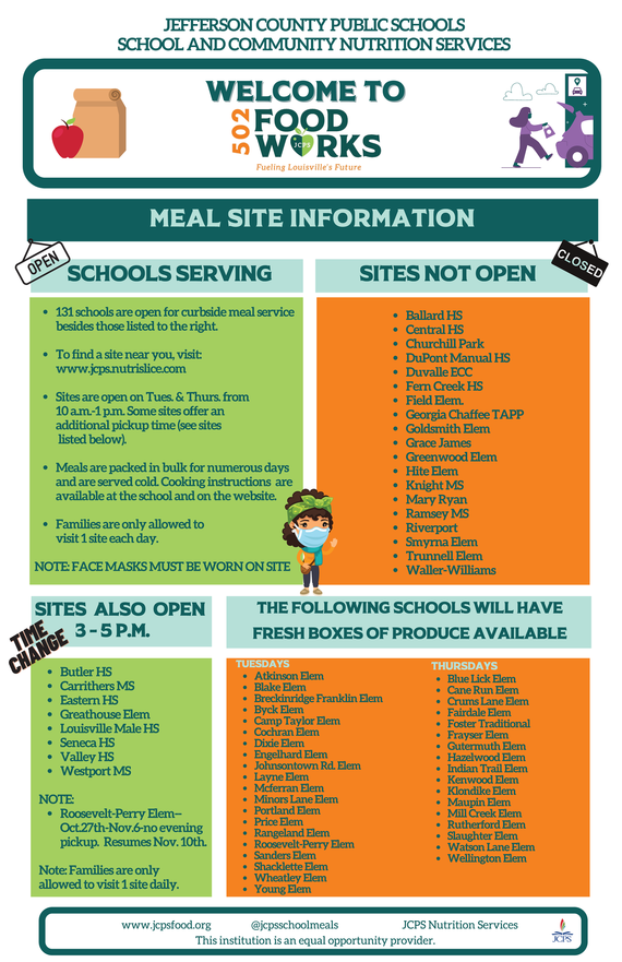 Updated November 2020 - JCPS meal sites