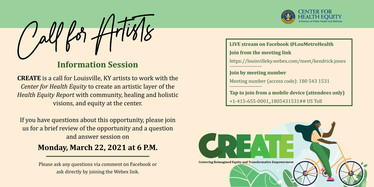 Call for artist information session: Monday, March 22 at 6pm. join the LIVE stream on Facebook @LouMetroHealth
