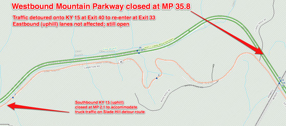 Mountain Parkway-KY 15 closure map