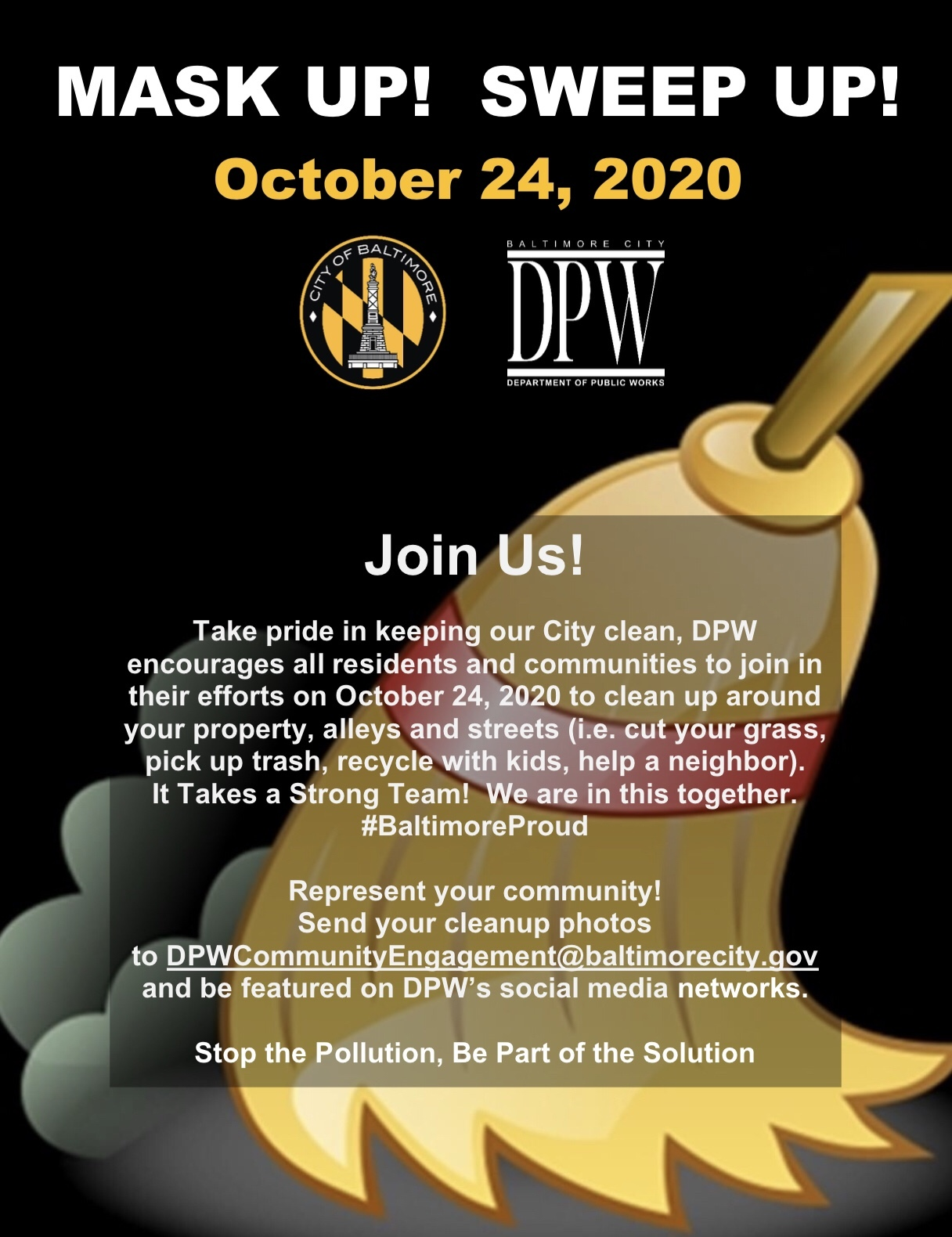 flyer for Oct. 24, 2020, Mask Up! Sweep Up! Day
