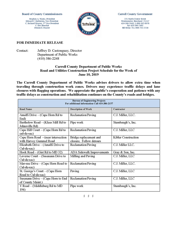 Public Works Road and Utilities Construction Project Schedule for