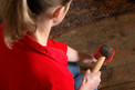 girl hammering