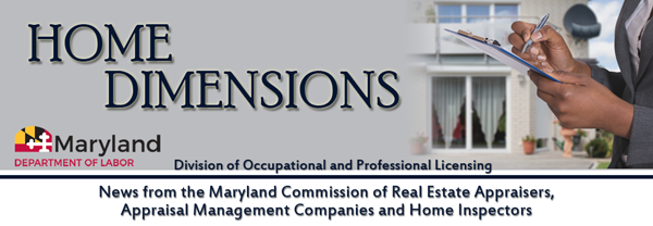 Maryland Commission of Appraisers, AMCs and Home Inspectors banner image