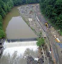 Aerial photo of dam construction site