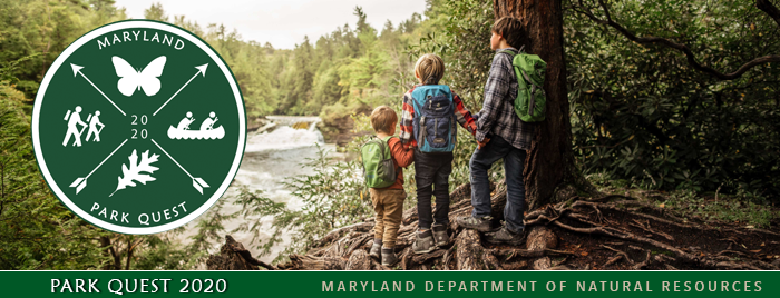 Photo of kids in nature and Park Quest logo
