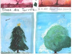 Photo of winning poster with painting of trees in all four seasons